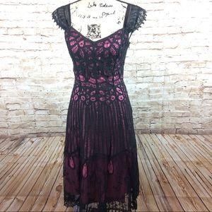 Betsy Johnson crochet Lace Overlay Dress 6